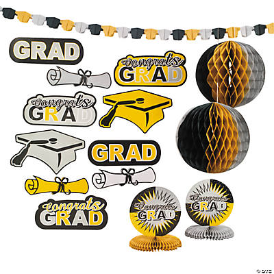 Black, Gold & Silver Graduation Party Decorating Kit