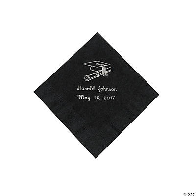 Black Graduation Personalized Beverage Napkins with Silver Print