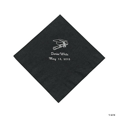 Black Graduation Personalized Lunch Napkins with Silver Print