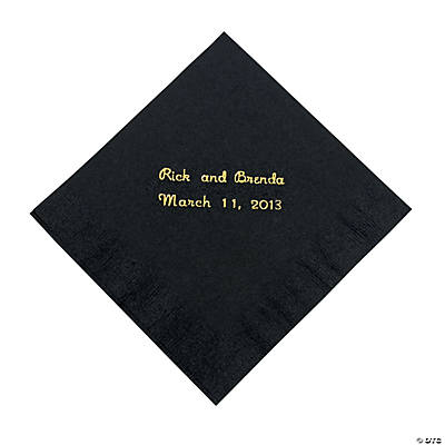 Black Personalized Beverage Napkins with Gold Print