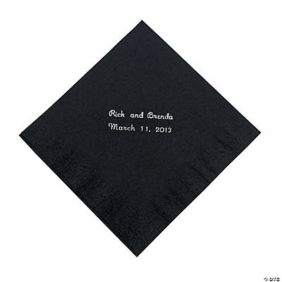 Black Personalized Luncheon Napkins with Silver Print