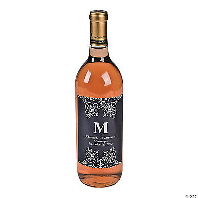 Black Personalized Monogram Wine Bottle Labels