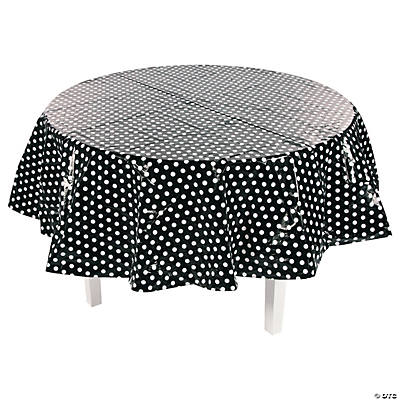 Merveilleux Quickview · Image Of Black Polka Dot Round Plastic Tablecloth With  Sku:13774231