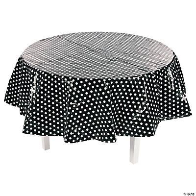 Black polka dot round tablecloth for Black polka dot tablecloth