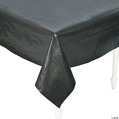 Nice Black Rectangle Vinyl Tablecloth With Flannel Back
