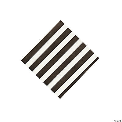 Black Striped Beverage Napkins