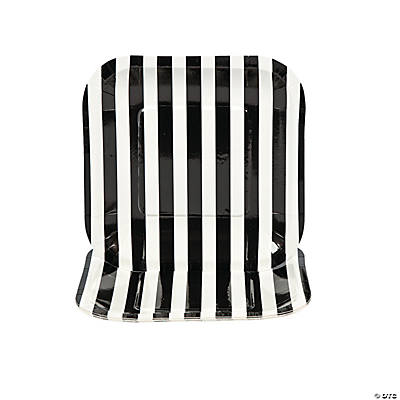 Black Striped Square Dessert Plates