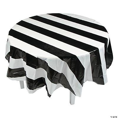 Black White Stripe Round Plastic Tablecloth