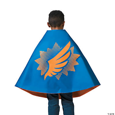 Blue & Orange Superhero Reversible Cape