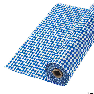 Blue & White Argyle Plastic Tablecloth Roll