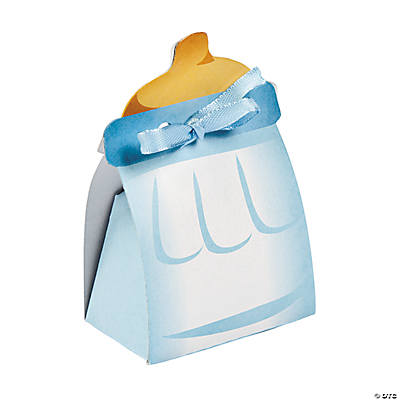 Blue Baby Bottle Treat Boxes