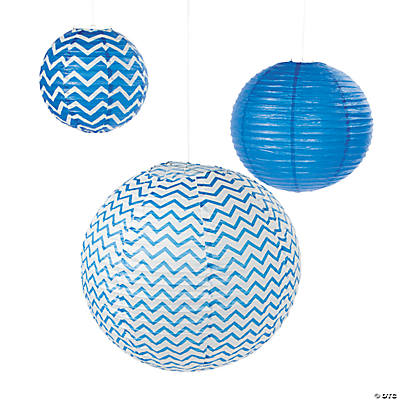 Blue Chevron Lanterns