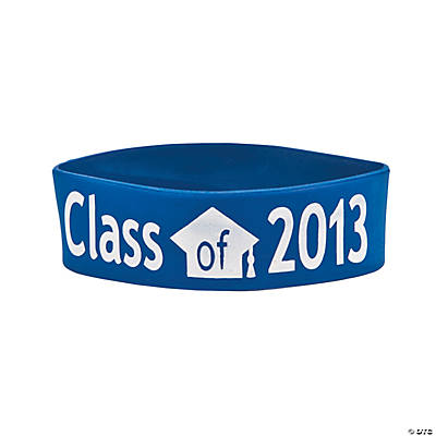 "Blue ""Class Of 2013"" Graduation Big Band Bracelets"