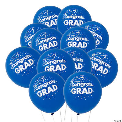 Blue Congrats Grad Latex Balloons