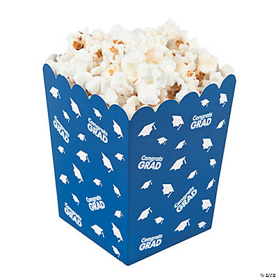 Blue Congrats Grad Popcorn Boxes - Oriental Trading ...