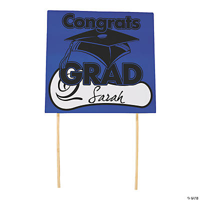 "Blue ""Congrats Grad"" Yard Signs"