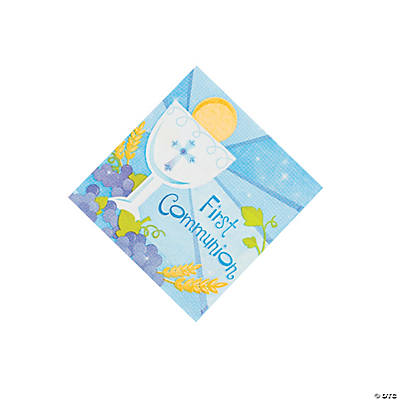 "Blue ""First Communion"" Beverage Napkins"