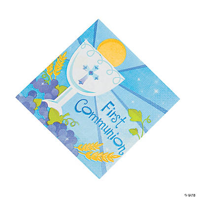 "Blue ""First Communion"" Luncheon Napkins"