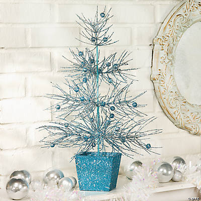 Blue Glitter Tabletop Tree