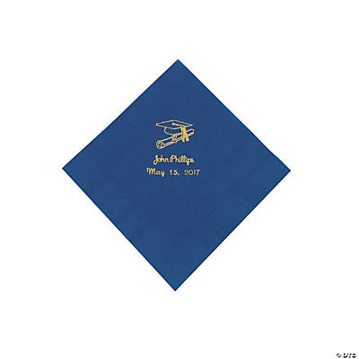 Blue Grad Personalized Beverage Napkins with Gold Print