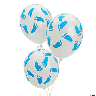 Blue Latex Baby Footprints Balloons