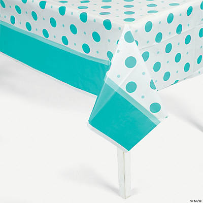 Blue Polka Dot Baby Shower Tablecloth