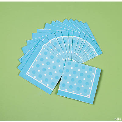 Blue Polka Dot Beverage Napkins