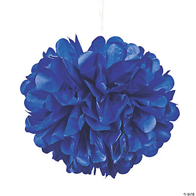 Blue Pom-Pom Tissue Decorations