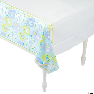 Blue Sweet Christening Plastic Tablecloth
