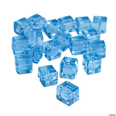 Blue Topaz Cube Cut Crystal Beads - 8mm