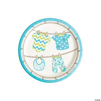 Boy Baby Clothes Paper Dessert Plates