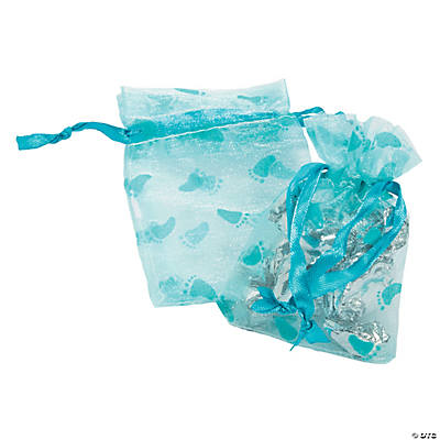 24 Boy Baby Shower Organza Bags