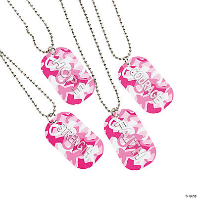Breast Cancer Awareness Camouflage Dog Tag Necklaces