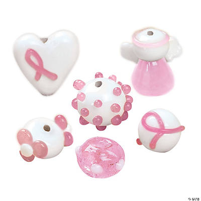 breast cancer awareness lampwork glass beads 12mm15mm