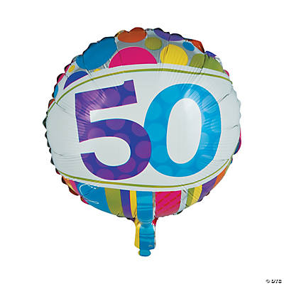 "Bright & Bold 50th Birthday Metallic 18"" Mylar Balloon"