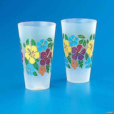 BRIGHT HIBISCUS PRINT FROSTED TUMBLERS