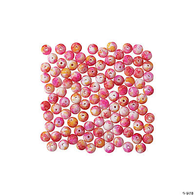 Bright Orange & Pink Watercolor Beads