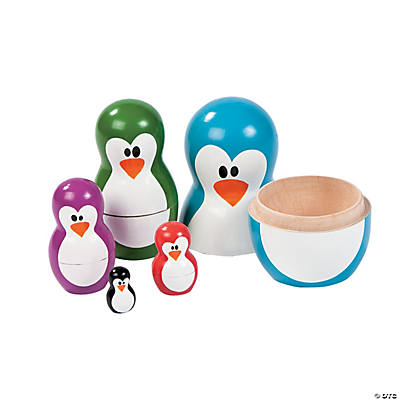 Bright Penguin Nesting Dolls