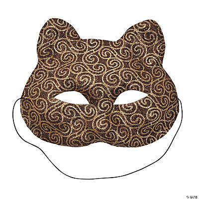 Brown Mardi Gras Cat Masks