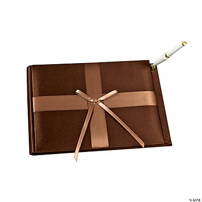 Brown Wedding Guest Book with Pen