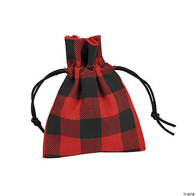 Buffalo Plaid Drawstring Bags