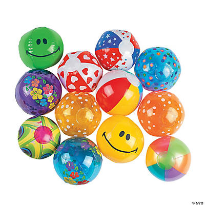 Bulk Inflatable Mini Beach Ball Assortment - 50 pcs.