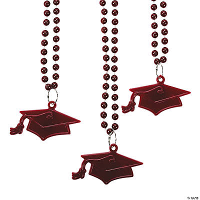 Burgundy #1 Grad Mortar Board Bead Necklaces