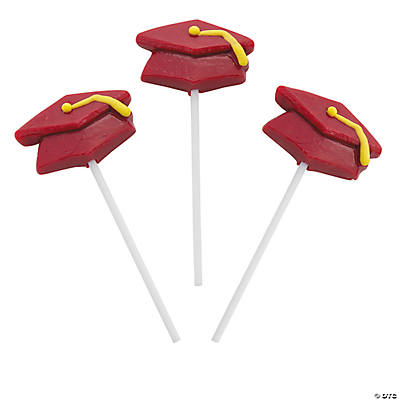 Burgundy Mortar Board Graduation Suckers