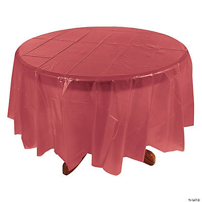 Burgundy Round Plastic Tablecloth