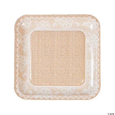 Burlap \u0026 Lace Paper Dinner Plates  sc 1 st  Oriental Trading & Bridal Shower Party Tableware Tableware: Party Tableware Plastic ...
