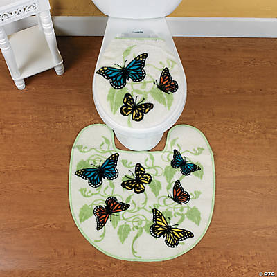 Best Bathroom Decor butterfly bathroom : Butterfly Bathroom Contour Rug and Toilet Lid Cover - Oriental ...