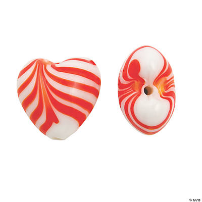 Candy Cane Heart Beads - 21mm