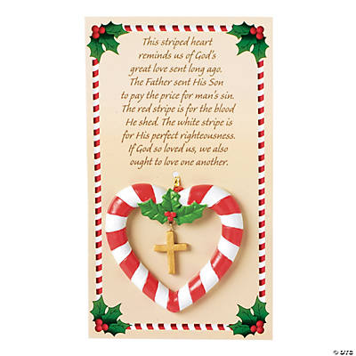 Candy Cane Heart Christmas Ornaments on Card