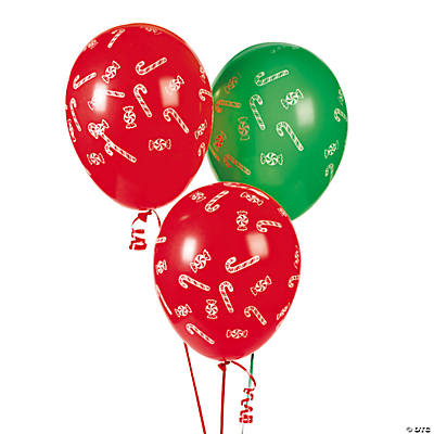 Candy Cane Latex Balloons